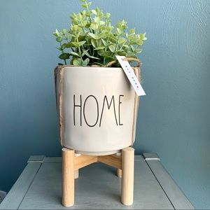 Rae Dunn • HOME Planter with Raised Wood Stand